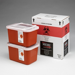 Two, One-gallon sharps disposal mailback containers