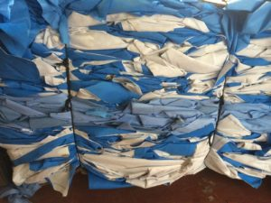 Blue wrap bundled up and ready to go to the recycling center