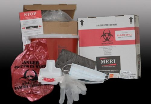 MERI's new Biohazard Blood Spill Clean Up & Disposal Kit