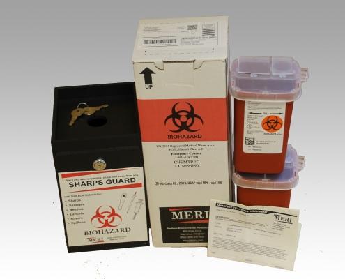 1 quart rugged black sharps box and mailback kit
