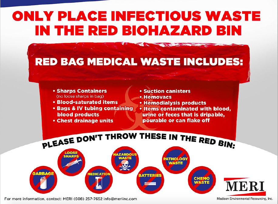 FREE INFECTIOUS WASTE POSTER: WHAT GOES IN RED BIOHAZARD BIN