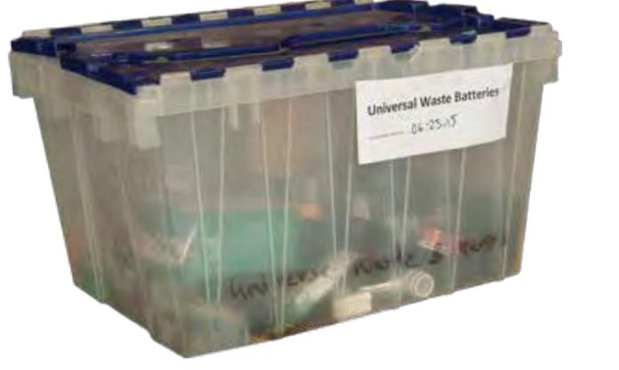Bin of used batteries
