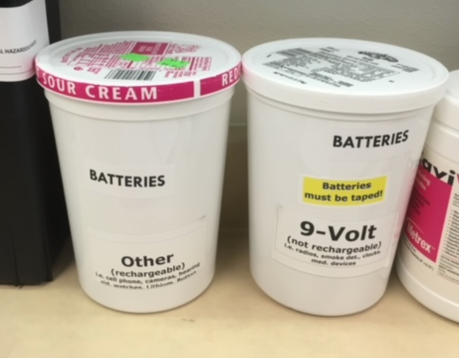 Batteries stored in plastic containers