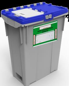 Blue top non-hazardous pharmaceutical reusable container