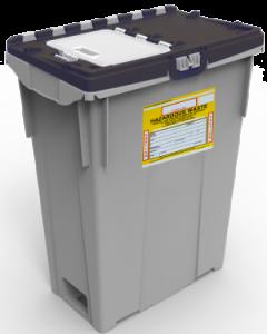 Black top reusable RCRA hazardous pharmaceutical container