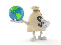 Dollar money bag character holding world globe isolated on white background. 3d illustration