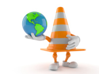 Traffic cone character holding world globe isolated on white background. 3d illustration