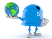 Recycling bin character holding world globe isolated on white background. 3d illustration