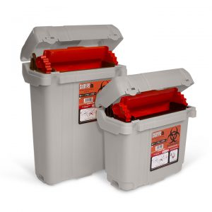 Rehrig reusable sharps containers in 2 sizes