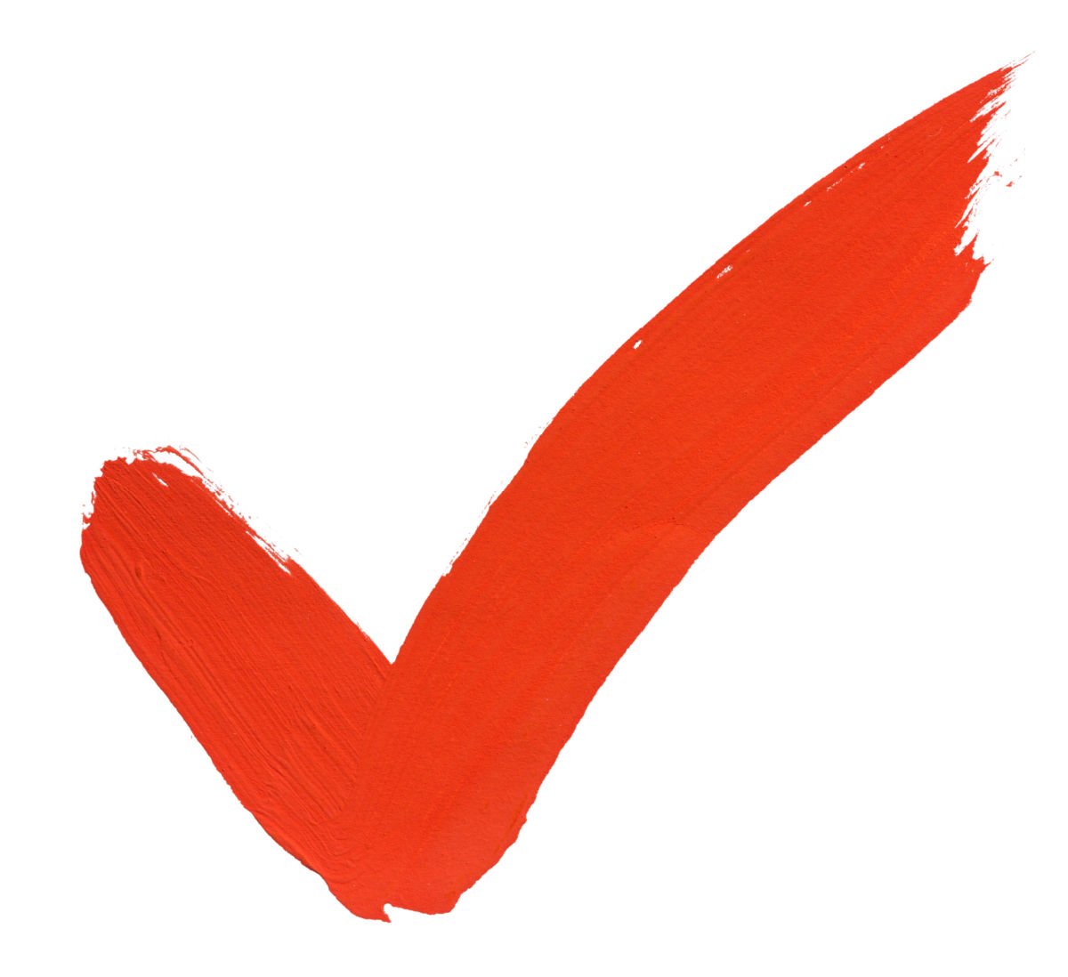 Red painted checkmark on white background