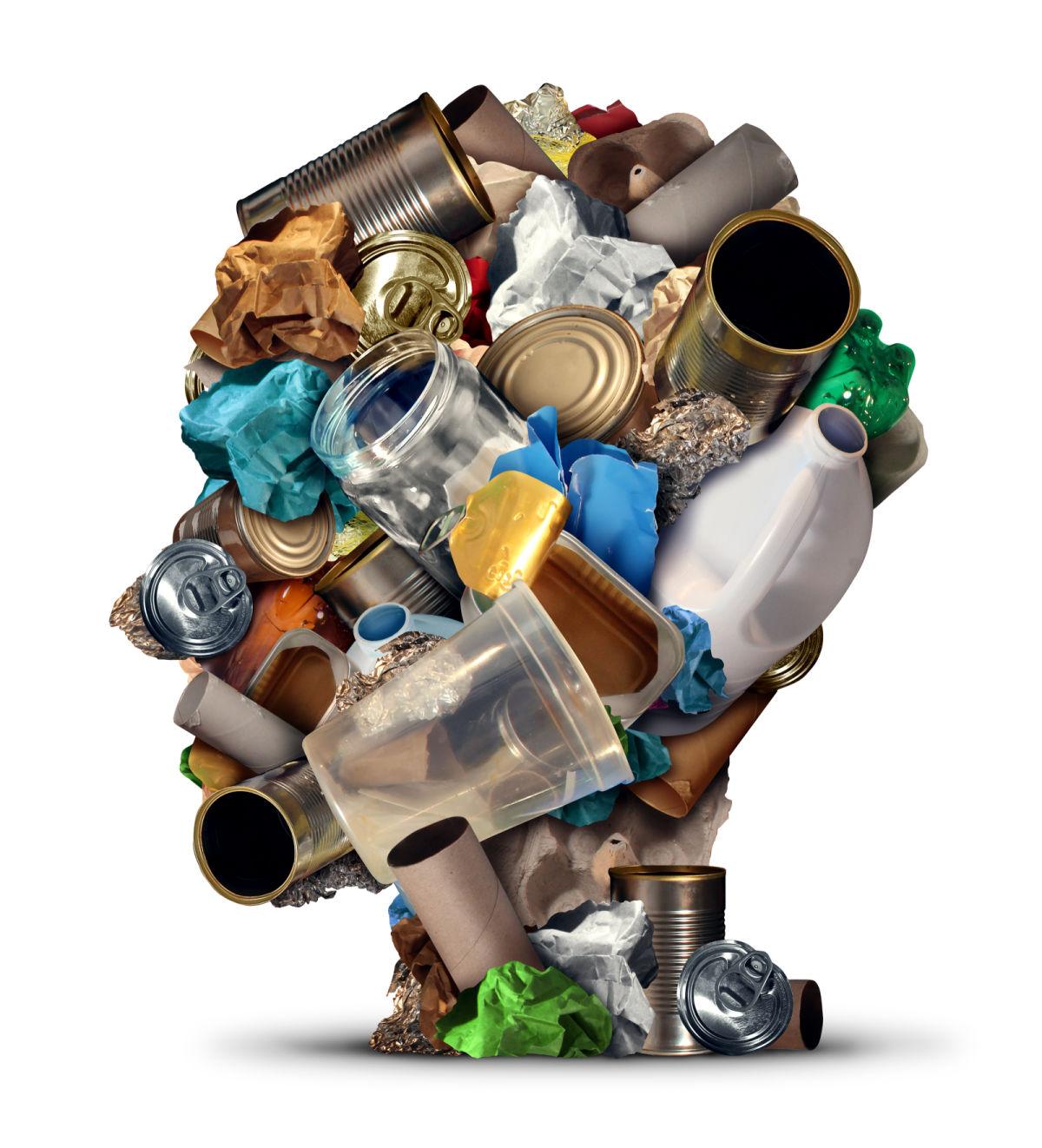 Recyclable waste in shape of human head