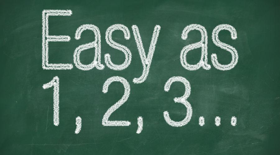 Easy as 1,2,3 text written on chalkboard